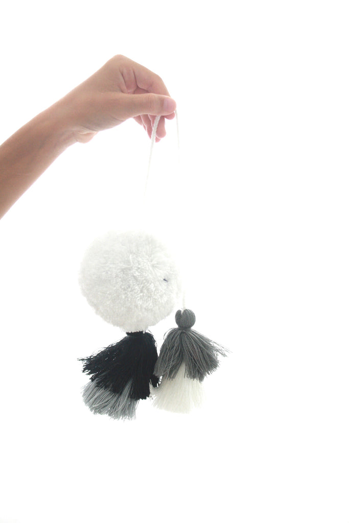 Pom Tassels- Grey, White, & Black