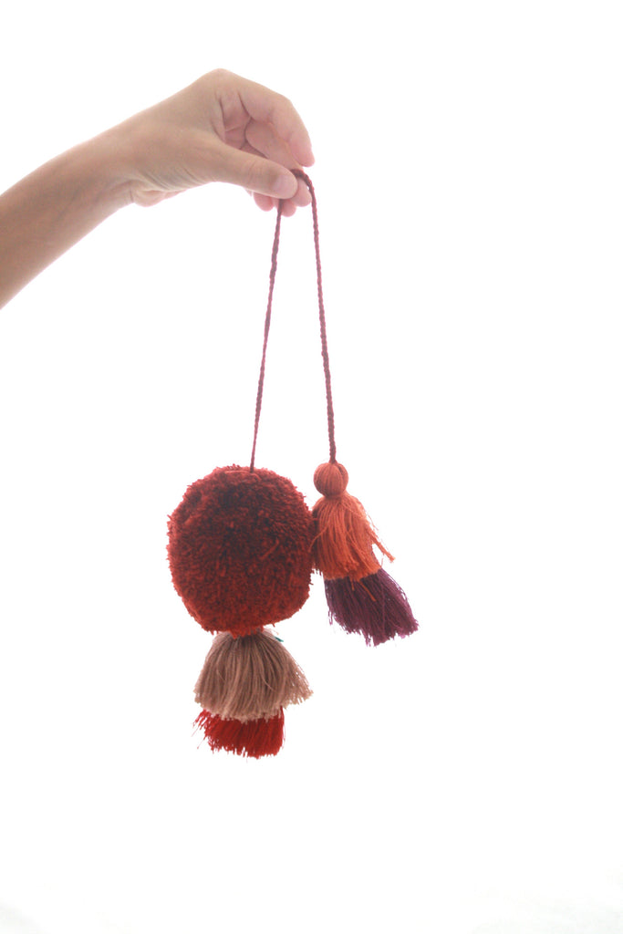 Pom Tassels- Rust, Camel & Orange