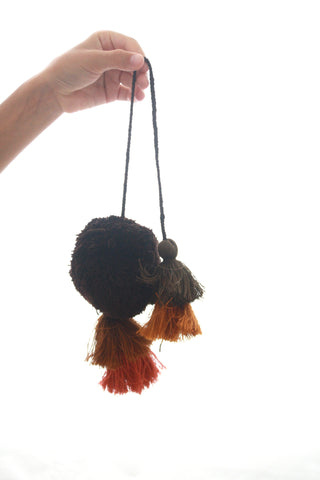 Pom Tassels- Dark Brown & Rust