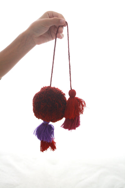 Pom Tassels- Rust & Purple