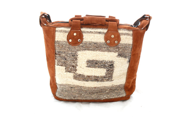 Medium Suede & Wool Bag-Azteca