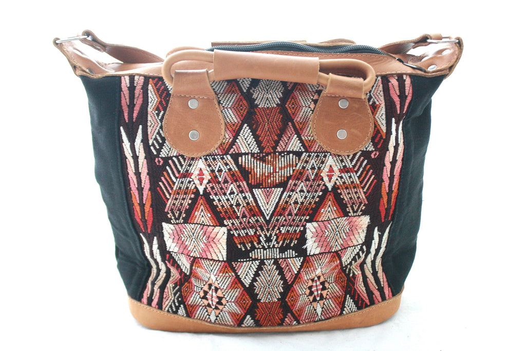 Medium Leather & Huipil Bag-Antigua