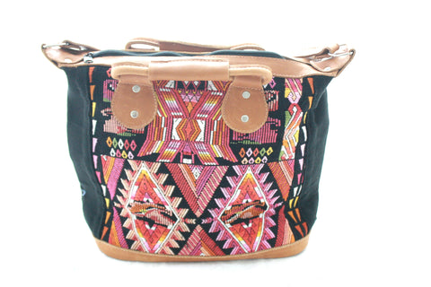 Medium Leather & Huipil Bag-Solola