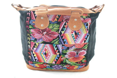 Medium Leather & Huipil Bag-Guate