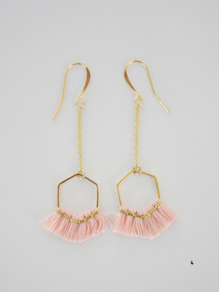 Hexagon Tassel Earrings