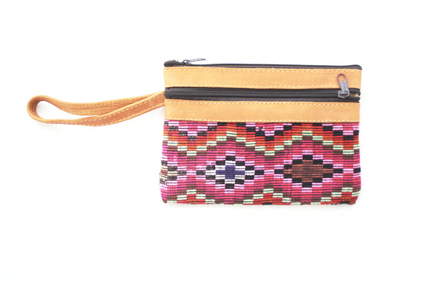 Huipil and Leather Clutch- Guate