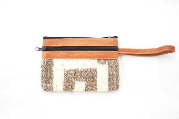 Leather and Alfombra Clutch-Escala