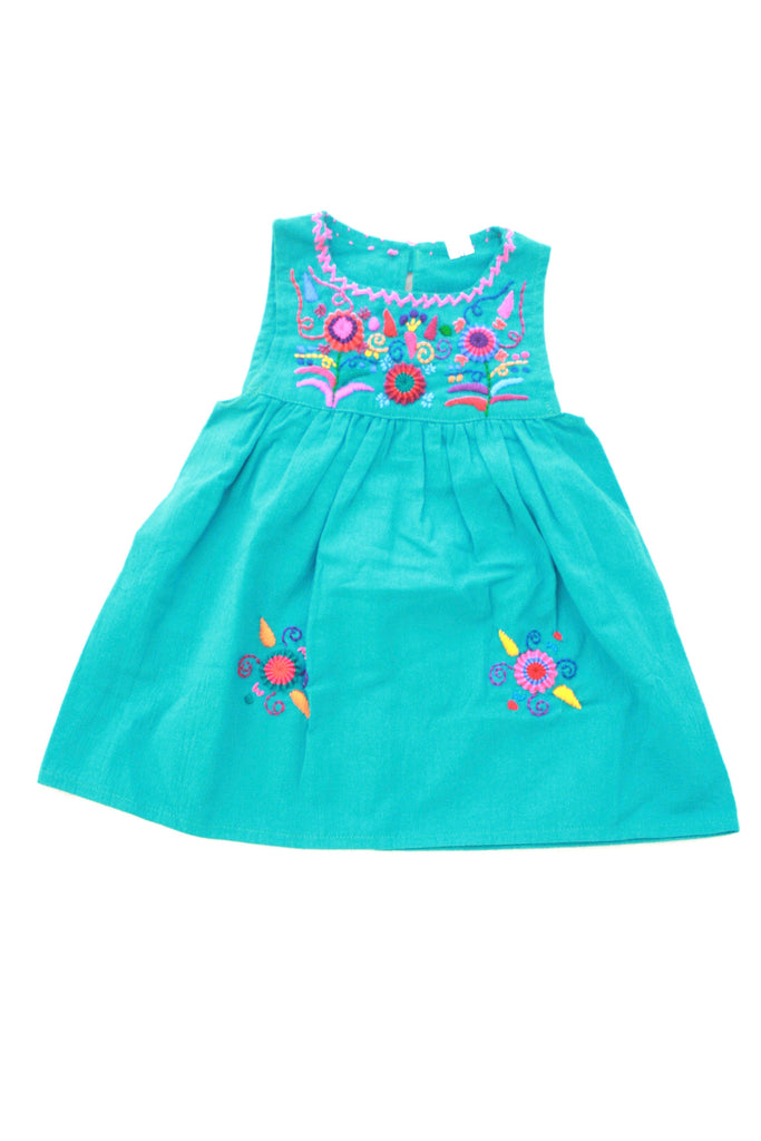 Flores Baby Dress-Teal