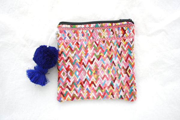Huipil Cosmetic Bag with Poms- Adelante