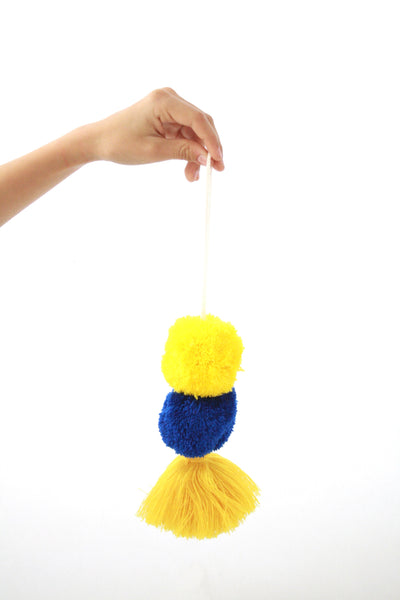 Pom Tassels- Navy and Yellow