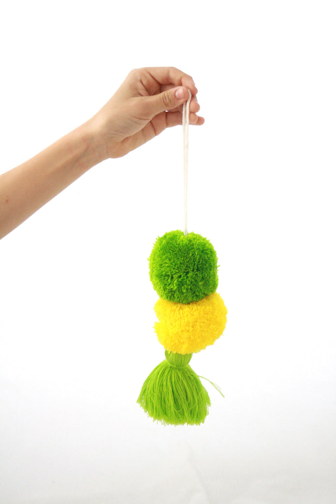 Pom Tassels- Green and Yellow