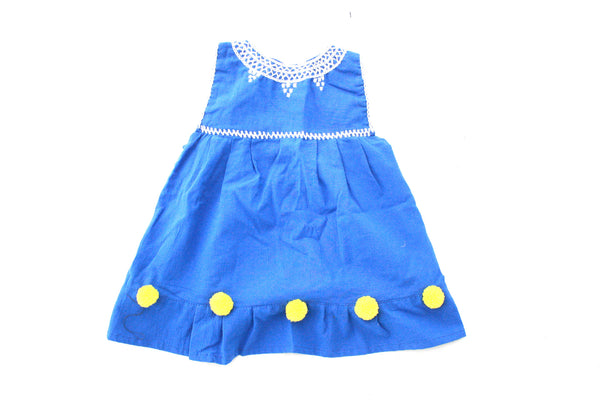 Pom Baby Dress-Azul y Amarillo