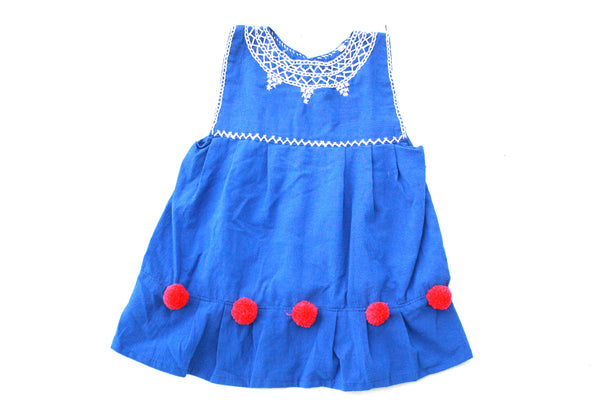 Pom Baby Dress-Azul y Rojo