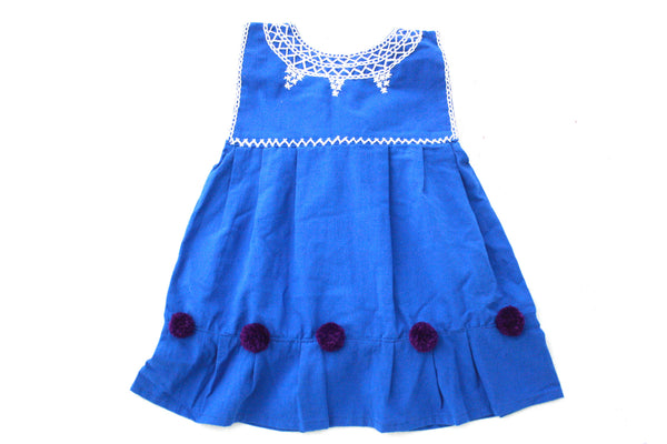 Pom Baby Dress-Azul y Violeta