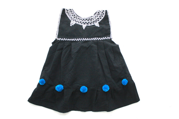 Pom Baby Dress-Negro y Azul