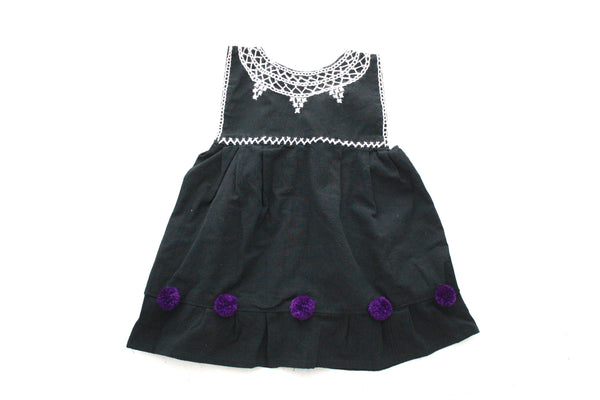 Pom Baby Dress-Negro y Violeta