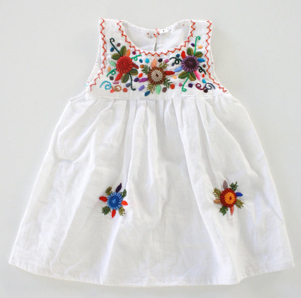 Flores Baby Dress-Blanco