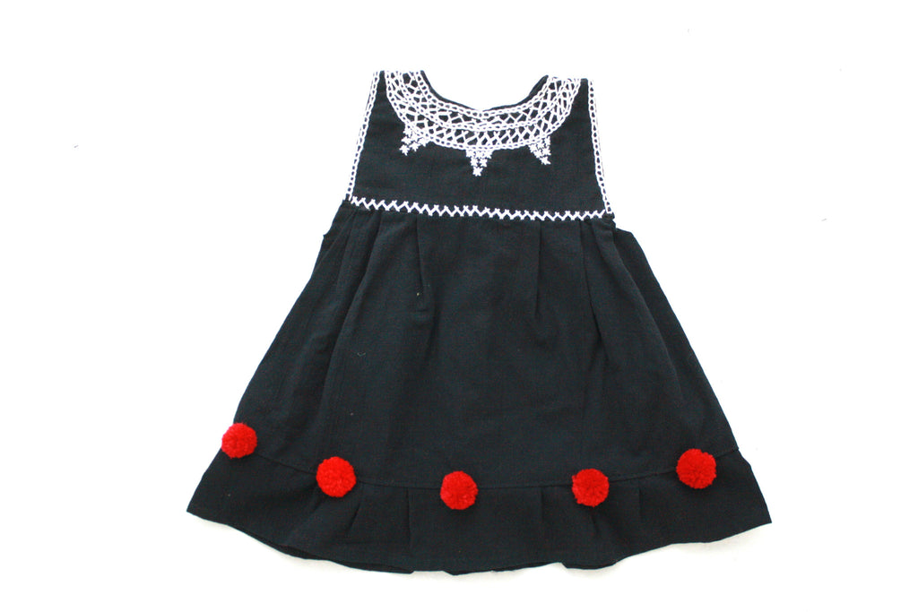 Pom Baby Dress-Black and Red Size 2