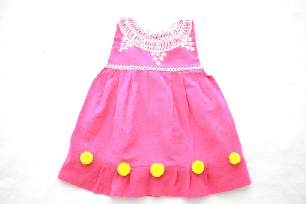 Pom Baby Dress- Pink and Yellow Size 3