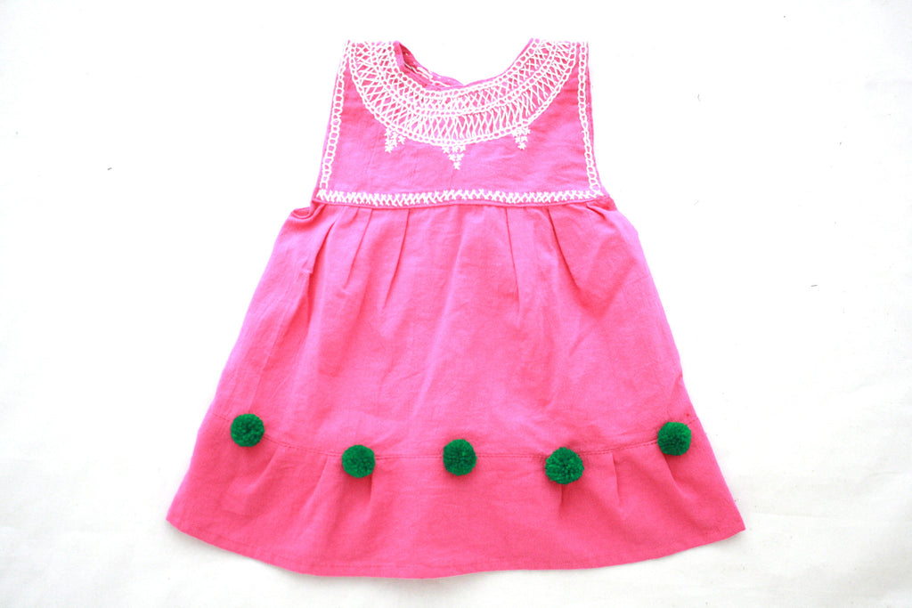 Pom Baby Dress- Pink and Green Size 4