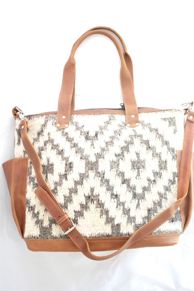 Extra Large Convertible Everyday Bag- Leather and Wool Bag- Fiesta