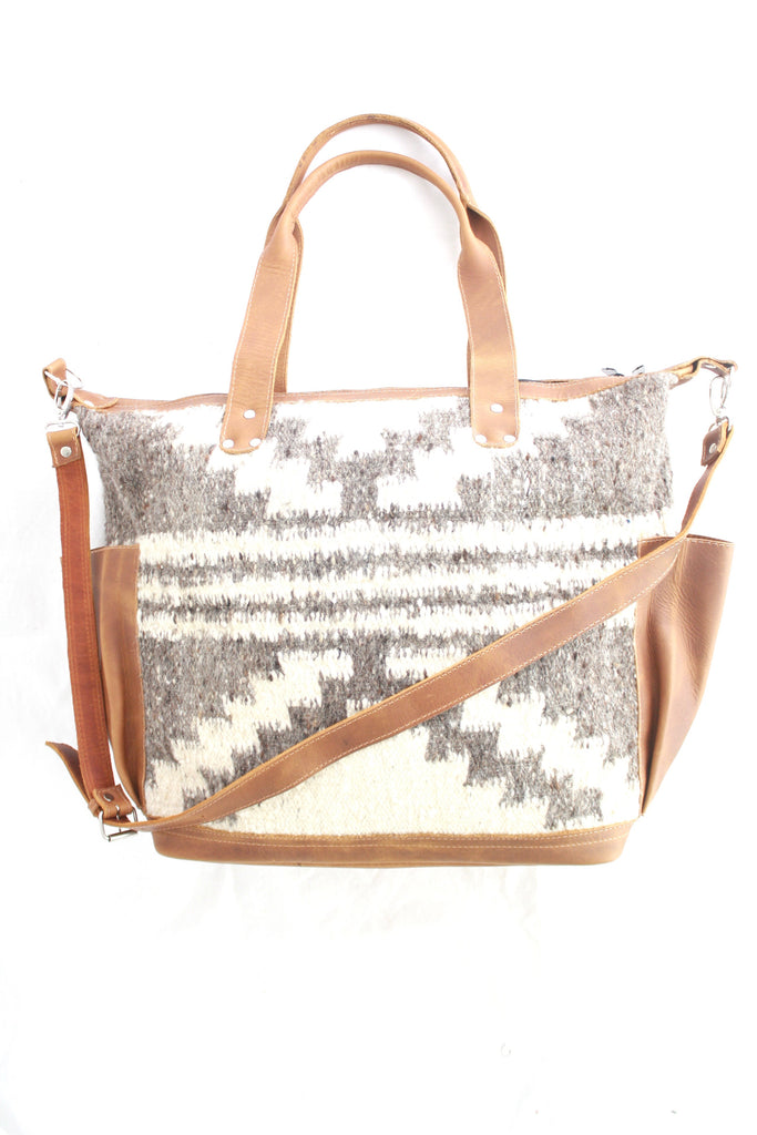Extra Large Convertible Everyday Bag- Leather and Wool Bag- Indio