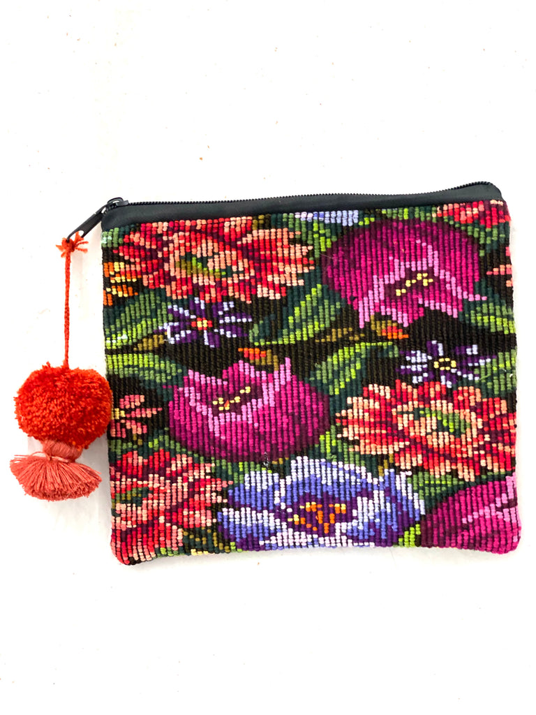 Huipil Cosmetic Bag with Poms- Paz