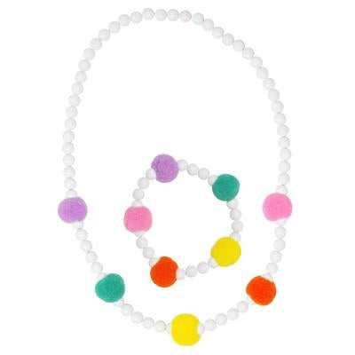 Pink Poppy Rainbow Pom Pom Necklace and Bracelet Set