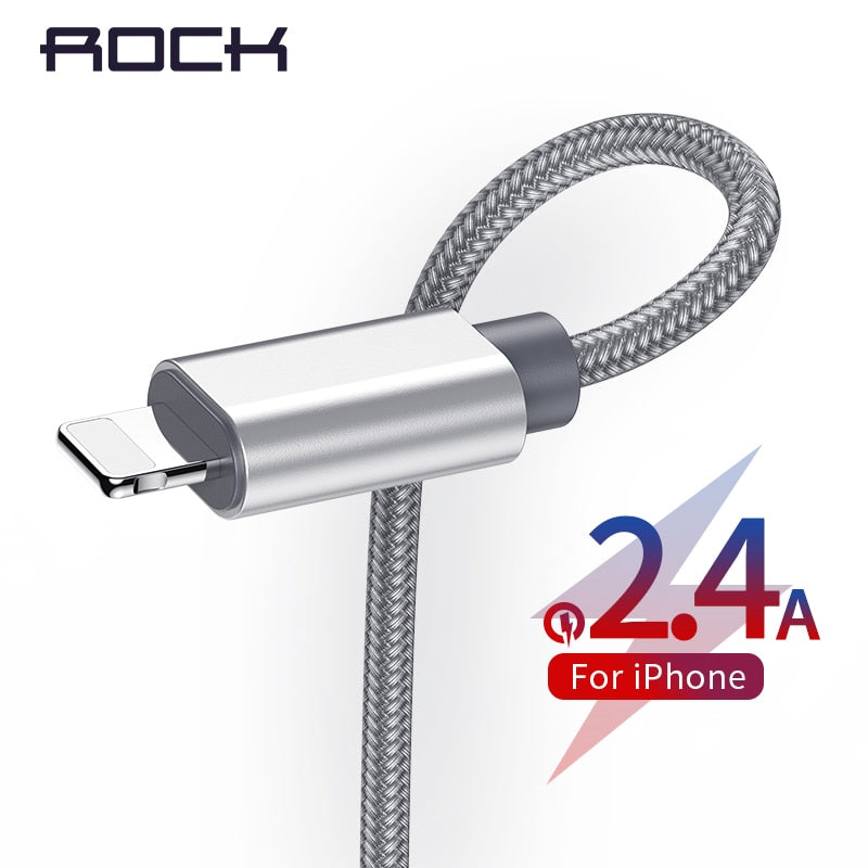 ROCK USB Cable For iPhone 11 Max Pro XR Xs X 7 8 Plus 6 6S 5 USB Charging Data Sync Cable For iPad iOS Mobile Phone Charger Cord