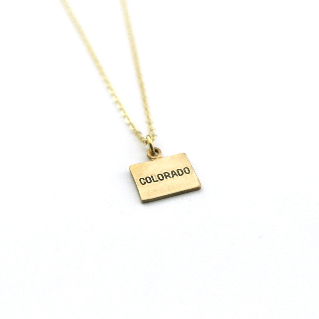 Peachtree Lane Stamped Brass Square | Colorado Name | Necklaces | $24