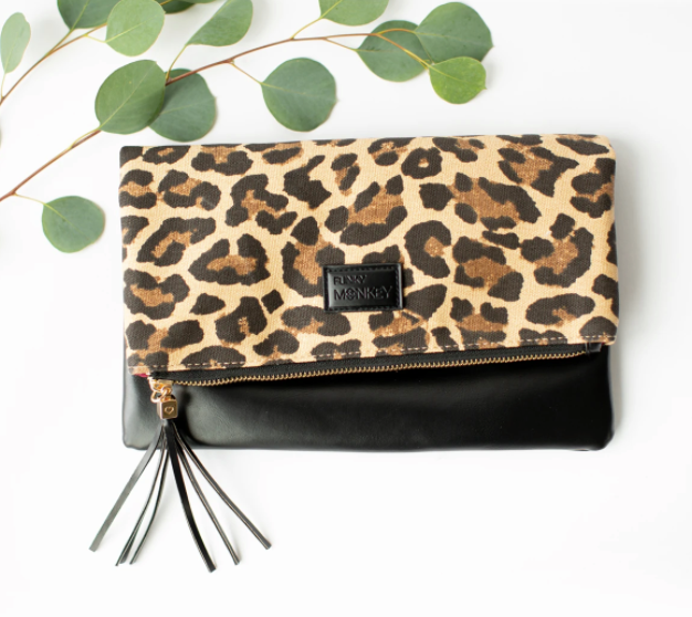 Funky Monkey Foldover Clutch | Leopard With Wine Lining | Clutches | $24