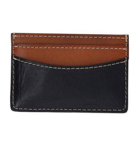 Natural Leather Wallet  - Black Tan