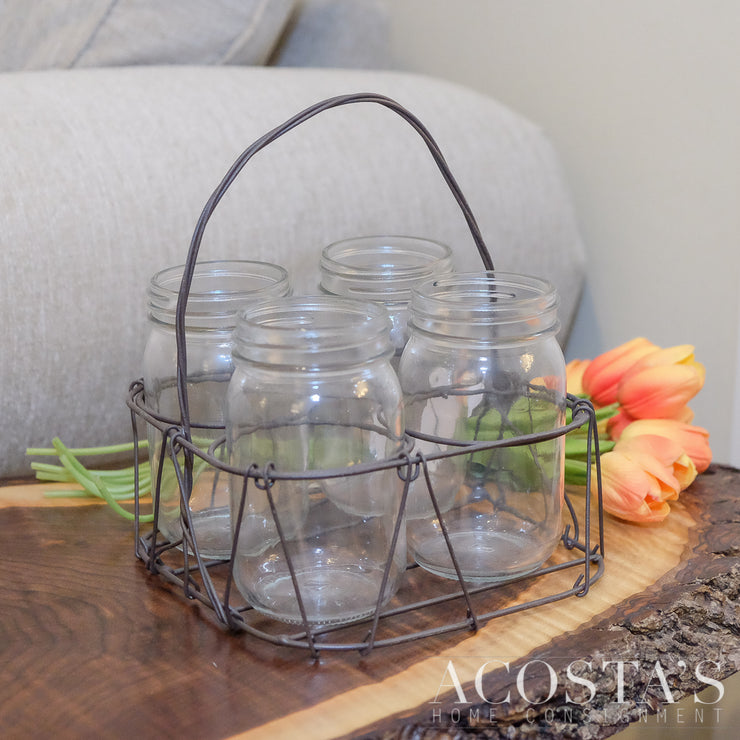 4 Jars in Metal Twisted Basket
