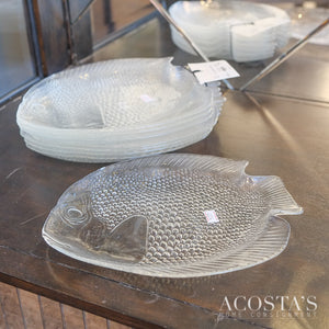 Set of 8 Glass Fish Plates