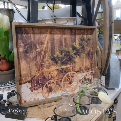 Wooden Tray with Wagon Picture