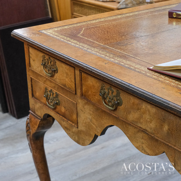 Burled Wood Desk with Leather Inlay