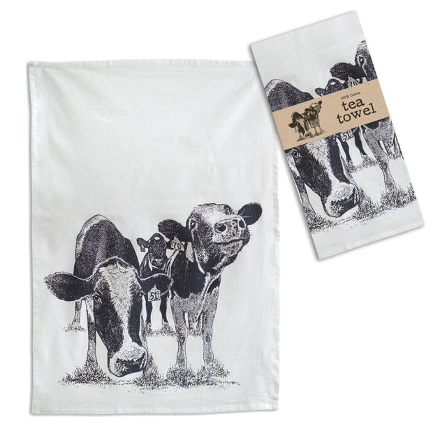 """Happy Cows"" Tea Towel - Acosta's Home"
