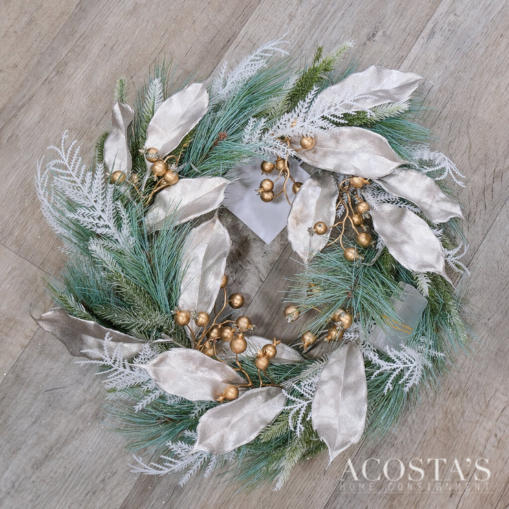 Floral Light Up Silver Accent Wreath