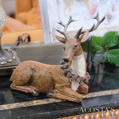 Sitting Reindeer with Pinecone Necklace - Acosta's Home