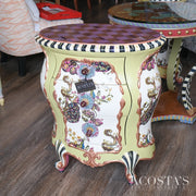 Orig. Price $4500 - Bombe Nightstand with Silk and Glass Drawer Pulls
