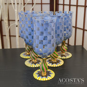 Set of 6 Circus Blue Check Hand Painted Goblet