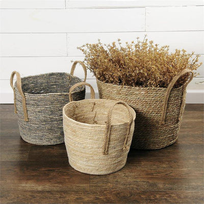 Set of 3 Corn Husk & Jute Woven Baskets