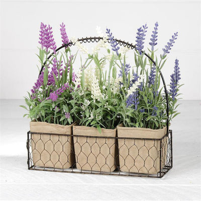 Wire Basket with Flowers in Paper Pots