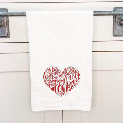 """Love Heart Red"" Indigo Tangerine Cotton Tea Towel"
