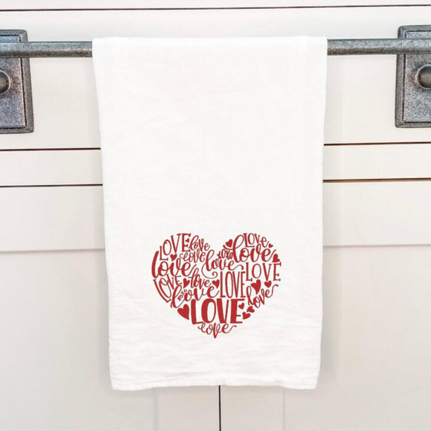 """Love Heart Red"" Cotton Tea Towel - Acosta's Home"