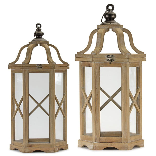 Set of 2 Wood/Glass Hexagon Lanterns