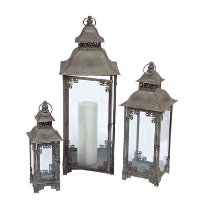 Set of 3 Metal/Glass Scrolled Lanterns