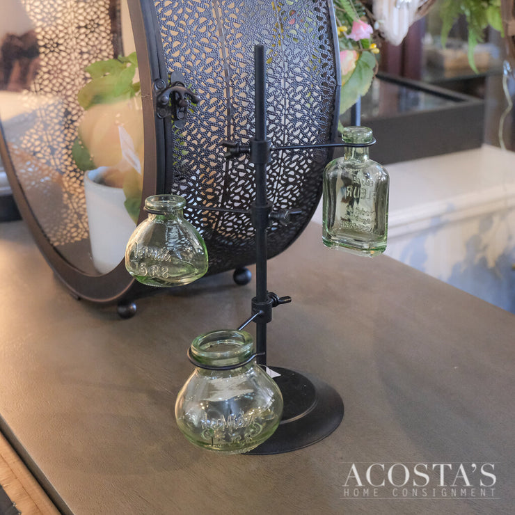 3 Green Glass Vases On A Stand - Acosta's Home