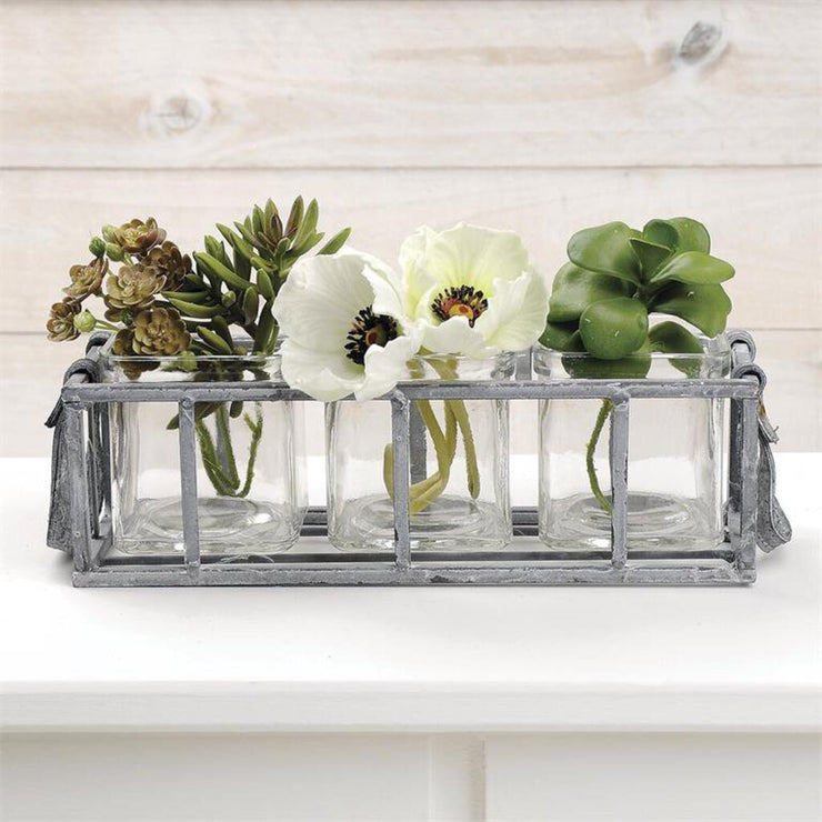 Three Square Glass Vases In Metal Basket