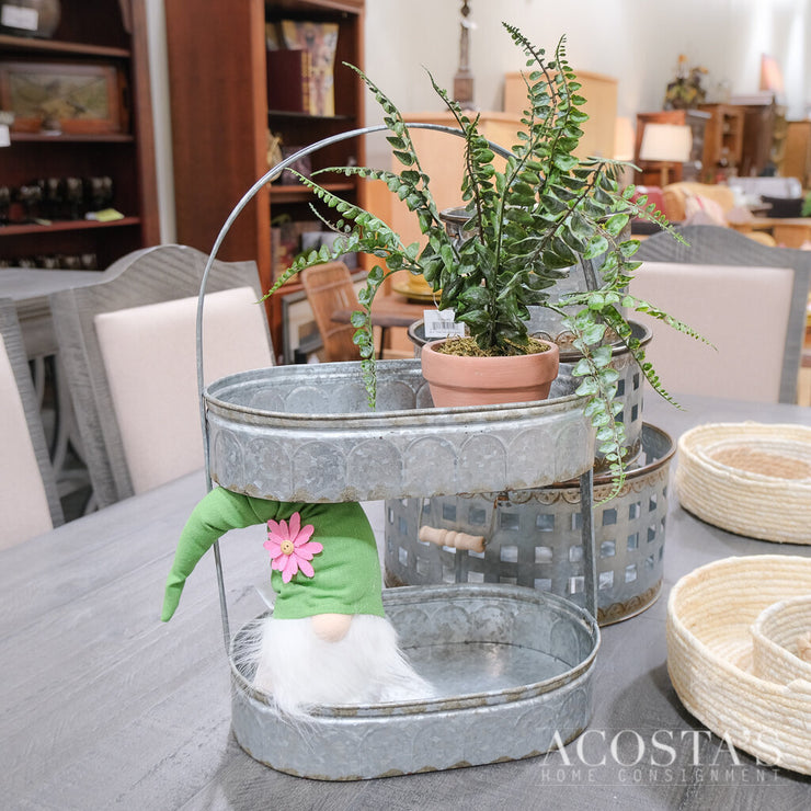 Two-Tiered Corrugated Metal Oval Tray - Acosta's Home